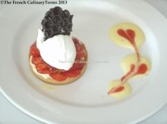 Strawberry Tart with a Vanilla Sauce via my classmate.